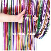 tirai foil rainbow / backdrop / tirai rumbai / foil fringe curtain
