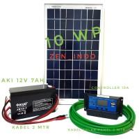 Paket Hemat Solar Panel Surya 10WP, Solar Controller 10 A, Aki 12V 7AH