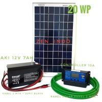 Paket Hemat Solar Panel Surya 20WP, Solar Controller 10A, Aki 12V 7AH