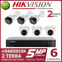 PAKET CCTV HIKVISION 5MP 8 CHANNEL 6CAMERA HDD 2TB