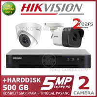 PAKET CCTV HIKVISION 5MP 4 CHANNEL 2CAMERA HDD 500GB
