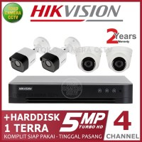 PAKET CCTV HIKVISION 5MP 4 CHANNEL HDD 1TB