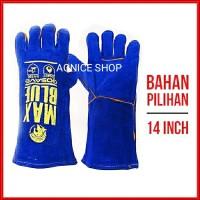 Original Gosave Sarung Tangan Kulit Las Biru 14 inch Max Blue Lea