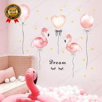 Stiker Dinding Decal Desain Flamingo Pink untuk Kamar Anak Perempuan