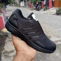 Sepatu Sport Sekolah Kerja Pria Adidas Neo Running Full Black Hitam -