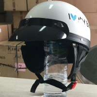 Topi Pet Helm Classic Bogo Retro Vespa Cakil Kulit Jeruk Putih
