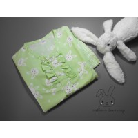 Piyama baju tidur katun kelinci hijau tangan kutung celana panjang