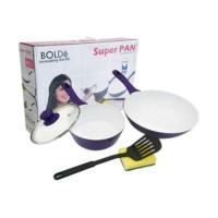 BOLDe Super Pan Cookware Purple Set - Ceramic Granite Coating Series