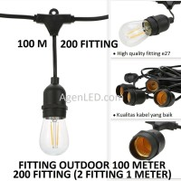 FITTING LAMPU OUTDOOR 200 FITTING 100M E27 100 m meter fiting kabel F2