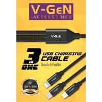 KABEL DATA 3 IN 1 ( MICRO USB-TYPE C-IPHONE ) V-GEN CMTL1-01