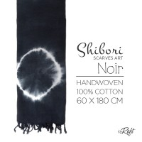 KERAFT Shibori Scarves Art Noir | 100% COTTON
