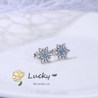 Pandora 290590nblmx Anting Tusuk Motif Snowflake Warna Biru untuk