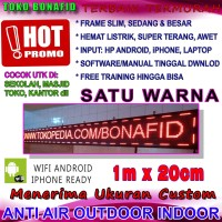 LED Running Text WIFI OUTDOOR MERAH 100 x 20 cm Tulisan Berjalan
