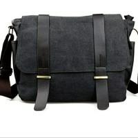 Bodypack Bag Tas Selempang Pria Bahan Jeans | Men Sling Shoulder Bags - Hitam