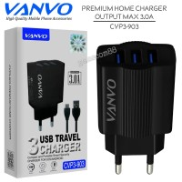 Vanvo Travel Charger Triple USB Output 3A CVP3-903