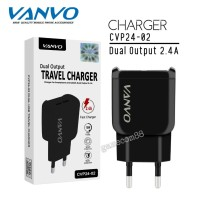 Vanvo Travel Charger Fast Charger Dual USB 2.4A CVP24-02