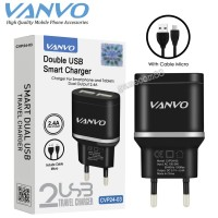 Vanvo Travel Charger Smart Charger Dual USB 2.4A CVP24-03