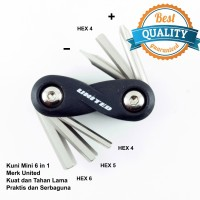 UNITED Toolkit Sepeda / Kunci Mini Hexagonal 6 In 1