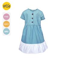 DRESS ANAK Perempuan SALLY RUFFLE warna polos 3 - 10 tahun HEIJA!