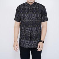 Kemeja Batik Pria Lengan Pendek Kemeja Batik Pria Motif Songket 6475 - XL
