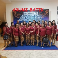 Seragam Batik Couple Pentas Lomba Setelan Wanita Brokat Span Grosir - sample kain