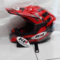 helm gm cross motif supercross red original
