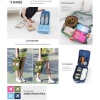 Korea Travel Shoe Pouch Ver 2 Solid Color / Tas Sepatu Organizer Kode
