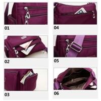 Ts102 Multi Zipper Women Waterproof Nylon Shoulder Bag / Tas