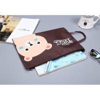 Pf01 Creative Fun Print Portable A4 File Storage Pouch Bag / Tempat