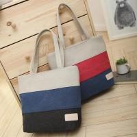 Korean 3 Stripes Color Canvas Tote Bag / Tas Kanvas Bahu Wanita Kode