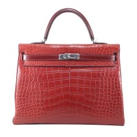 Hermes Kelly 35 Tri Leather in Rouge I9168C