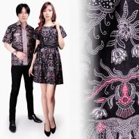 Couple Dress Fils Short Dress Batik Wanita Dan Kemeja Batik Pria