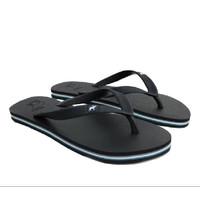 Sandal Panama / Sendal Jepit Pria Hitam Full Black / Sendal Pantai - 44