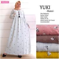 Murah Maxi Dress Gamis Abaya Kaos Babyterry Import Motif Fit XL Busui