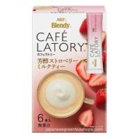 AGF Blendy Cafe Latory Strawberry Milk Tea isi 6 Pcs