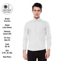 Kemeja Polos Formal Pria Ekslusif | Postillo | Lengan Panjang Putih - Dasi