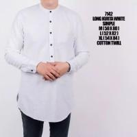 Fashion Muslim Pria Kemeja Kurta Lengan Panjang - Putih, L