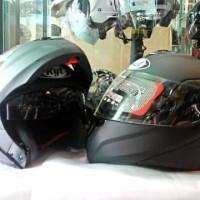 Helm KYT RRX Modular Full Face Black Fullface Visor Hitam