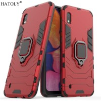 Samsung A10 Black Panther Slim Standing Ring Rugged Armor Case