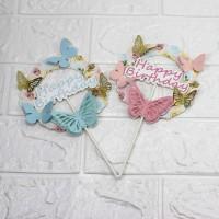 topper cake / hiasan kue set Model Bulat HBD Bunga Floral pink blue