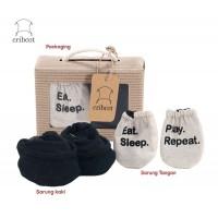 Cribcot Gift Set Mitten Booties Sarung Tangan Kaki - Eat Sleep Play