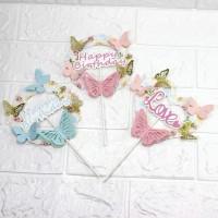 hiasan kue set Model Bulat HBD Bunga Floral pink blue