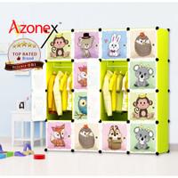 Lemari Plastik Portable Lemari Pakaian Rak Baju 16 Pintu Kartun Azonex