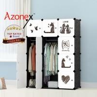 Lemari Plastik Portable Lemari Pakaian Rak Baju 12 Pintu Kucing Azonex