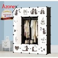 Lemari Plastik Portable Lemari Pakaian Rak Baju 20 Pintu Kucing Azonex