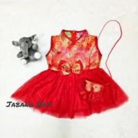 Baju Imlek Cheongsam Chinese Dress Merah Bayi Perempuan Set Tas