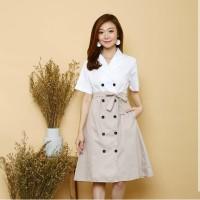 Baju Wanita MICHELLE BUTTON TWOTONE DRESS