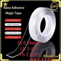 Nano Magic Tape Transparant - Double Tape Super Kuat - 500 CM x 3 CM