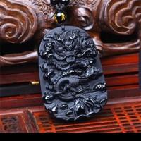Kalung Liontin Batu Black Onyx Motif Naga