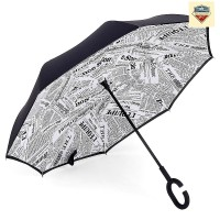 Payung Terbalik White Newspaper Gagang C - Reverse Umbrella Handle C